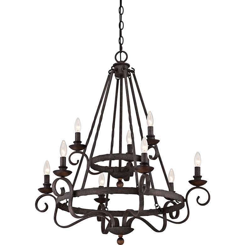"Quoizel Noble 32"" Wide Rustic Black Chandelier more views"