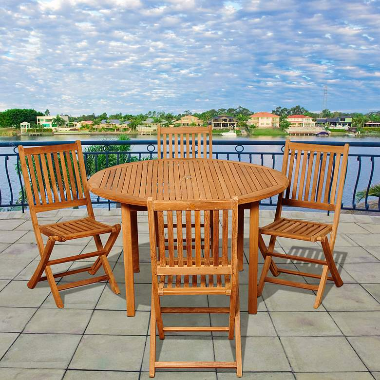 Dallis Teak Folding Chair 5-Piece Round Patio Dining Set more views