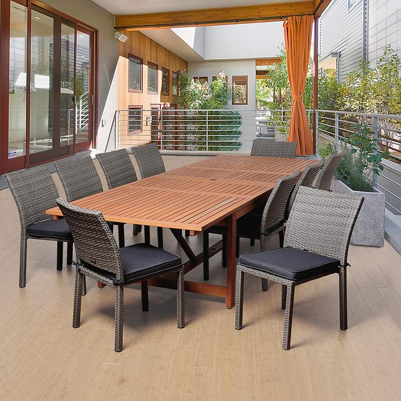 Lorenzo Gray 11-Pc Extendable Patio Dining Set more views