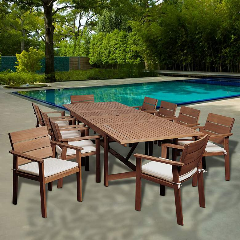 Alonzo Eucalyptus 11-Piece Extendable Patio Dining Set more views