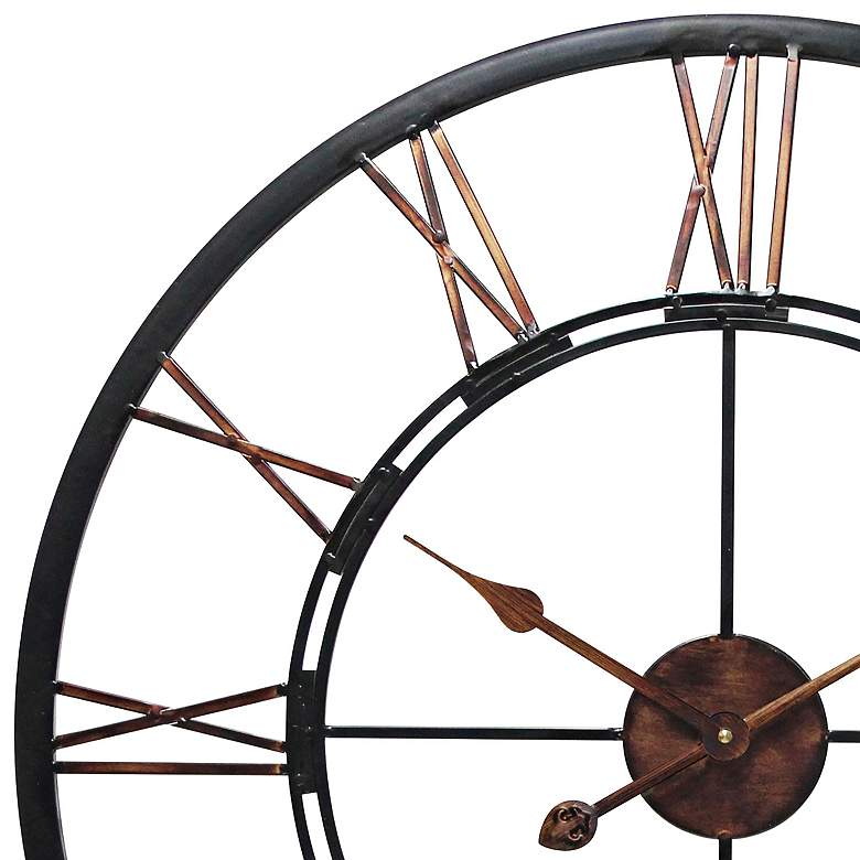 "Fusion 28"" Rustic Brass Wall Clock more views"