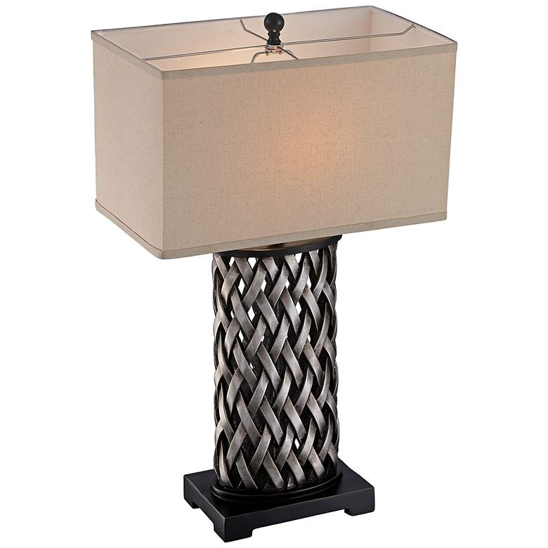 Lite Source Sadler Woven Aged Silver Table Lamp more views