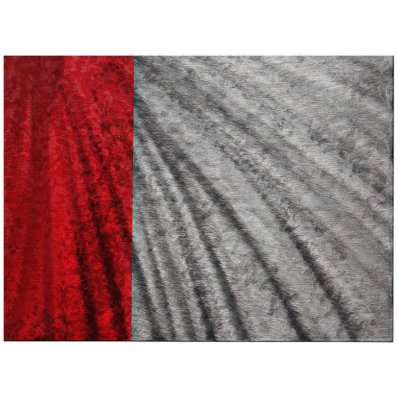 "Red Stripe 22"" Square Abstract Metal Wall Art Clock more views"
