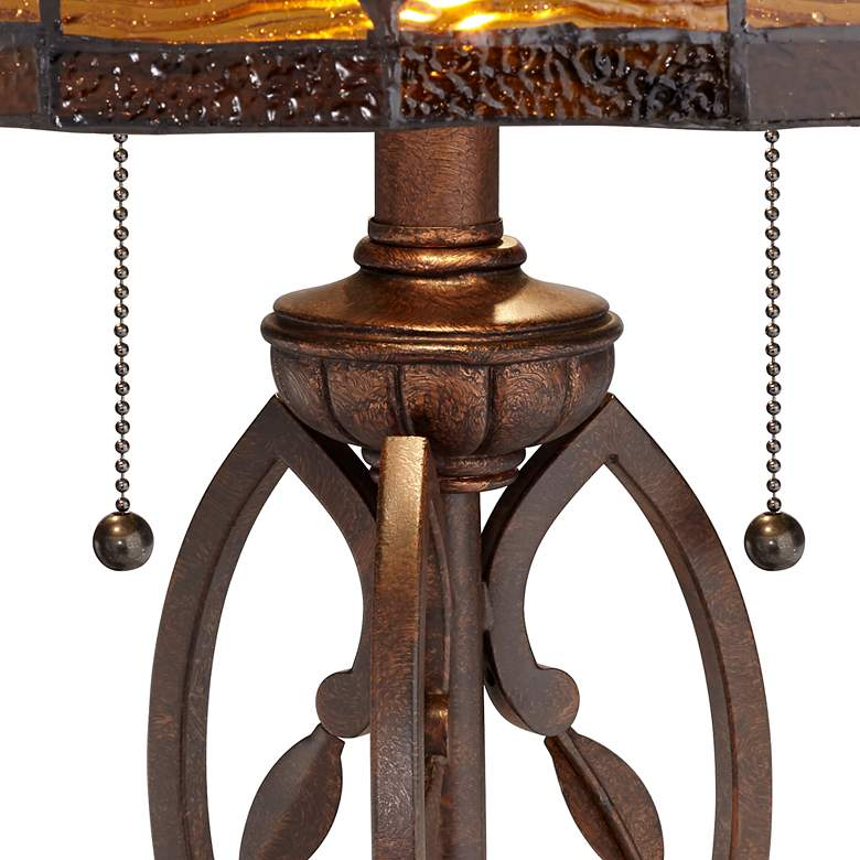 Blossoming Leaf and Vine Bronze Tiffany Table Lamp more views