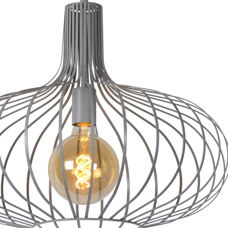 "Florabelle 19 3/4""W Textured Gray Open Cage Pendant Light more views"
