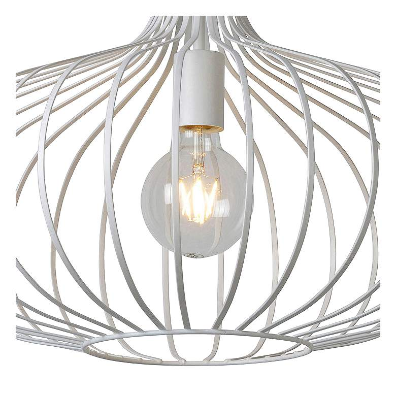 "Rosalind 19 3/4"" Wide Textured White Open Cage Pendant Light more views"
