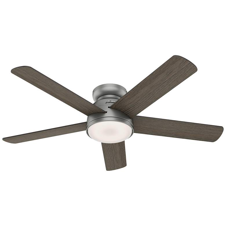 "54"" Hunter Romulus Matte Silver LED Hugger Ceiling Fan more views"