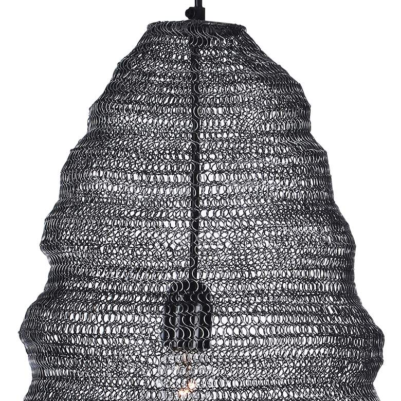 "Garatun 12""W Brushed Gray Mesh Metal Mini Pendant Light more views"