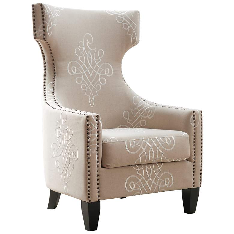 Gramercy Beige Embroidered Linen Wing Accent Chair more views