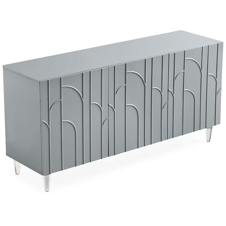 "Deco 65"" Wide Gray Lacquer 3-Door Wood Buffet more views"