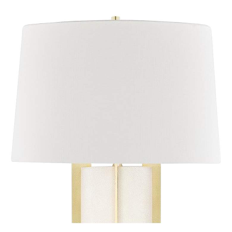 Hudson Valley Coram Aged Brass and Cream Shagreen Floor Lamp more views