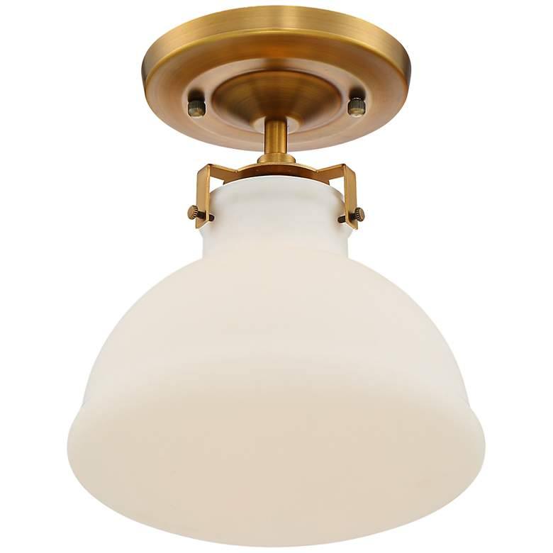 "Possini Euro 10 1/4"" Wide Gold and Opal Glass Ceiling Light more views"