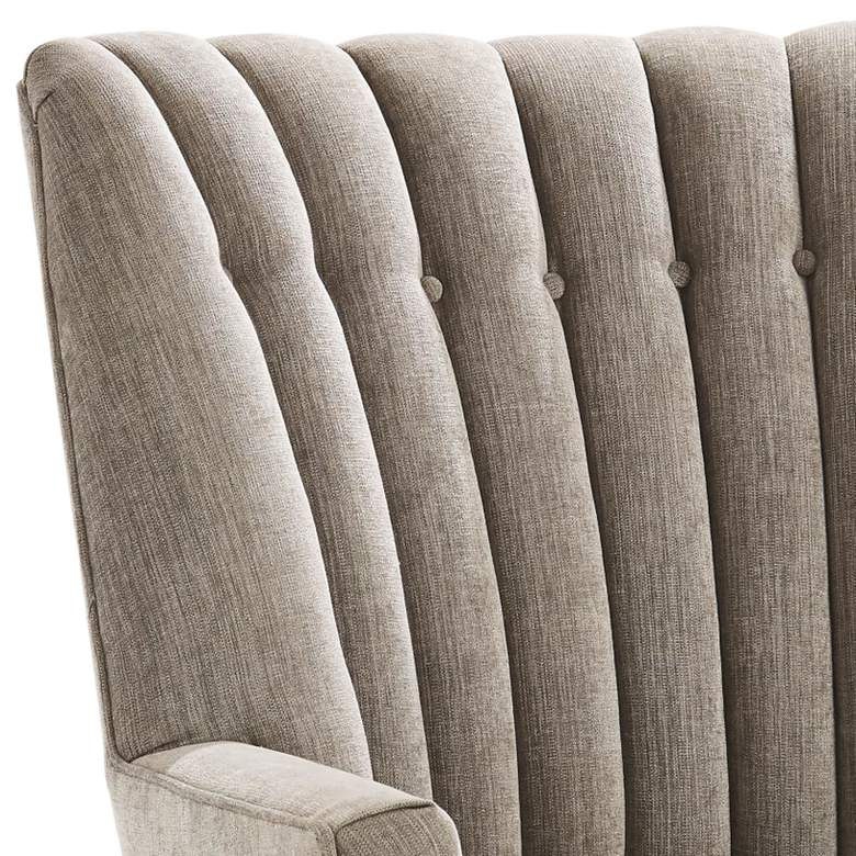 Duncan Pale Gray Woven Silversmith Fabric Tufted Armchair more views