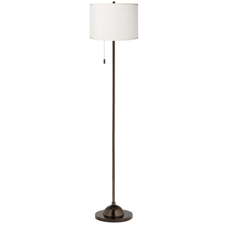 Cream Faux Silk Shade Bronze Club Floor Lamp more views