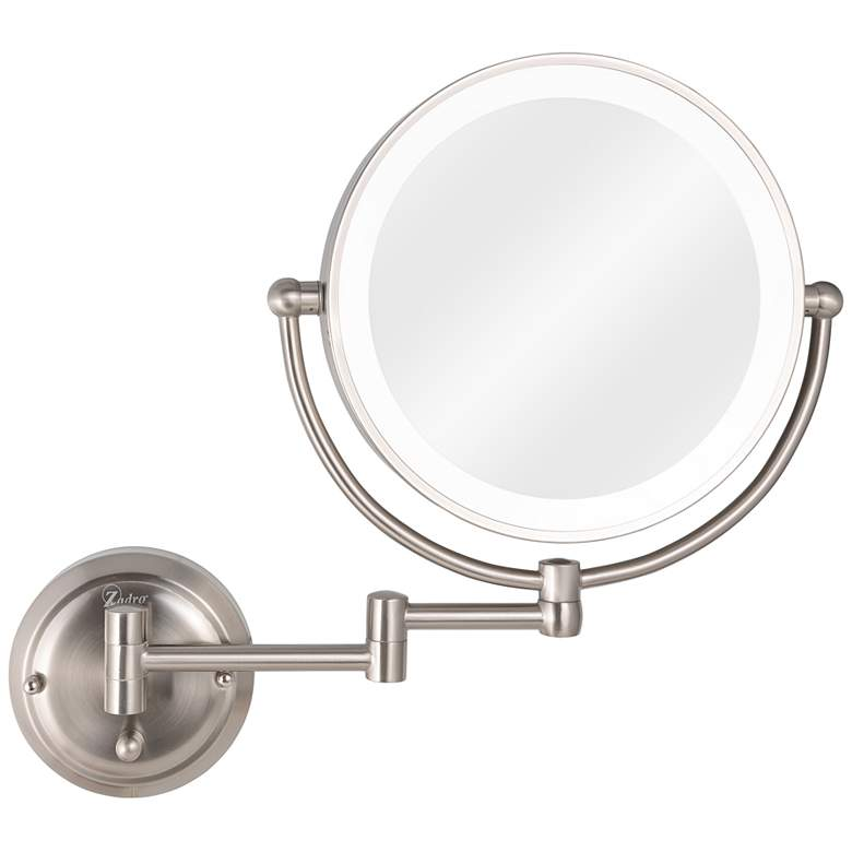 Glamour Satin Nickel Hardwire Lighted Makeup Wall Mirror