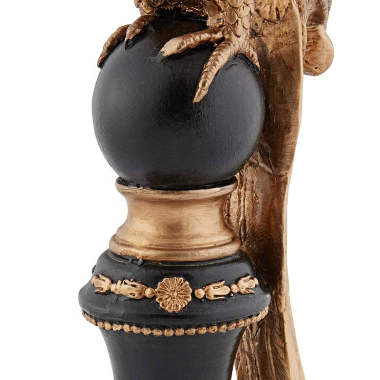 "Bird 12"" High Hand-Painted Black and Gold Decorative Statue more views"