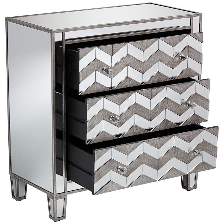 "Mirrored Chevron 32"" Wide 3-Drawer Chest by Studio 55D more views"