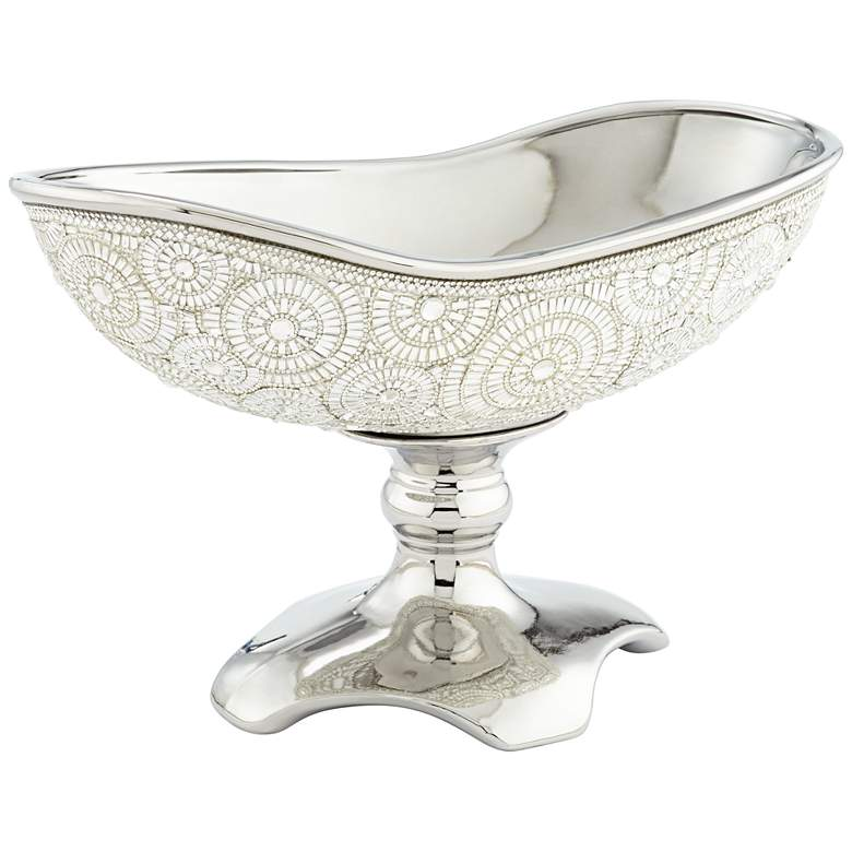 Circle Bling Silver Plating Ceramic Fruit Bowl more views