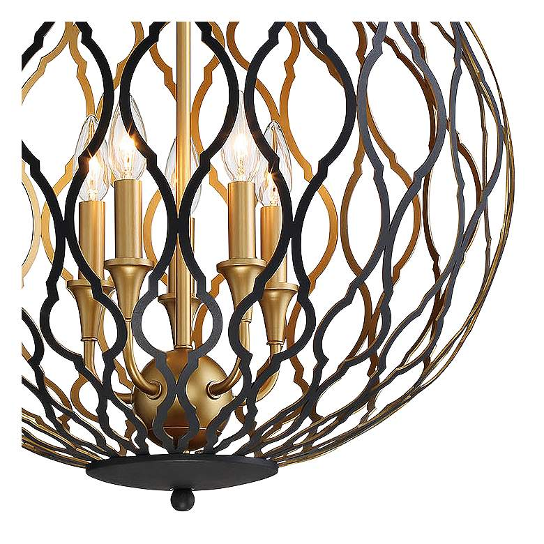"Gilded Glam 20""W Sand Coal Honey Gold 5-Light Pendant Light more views"
