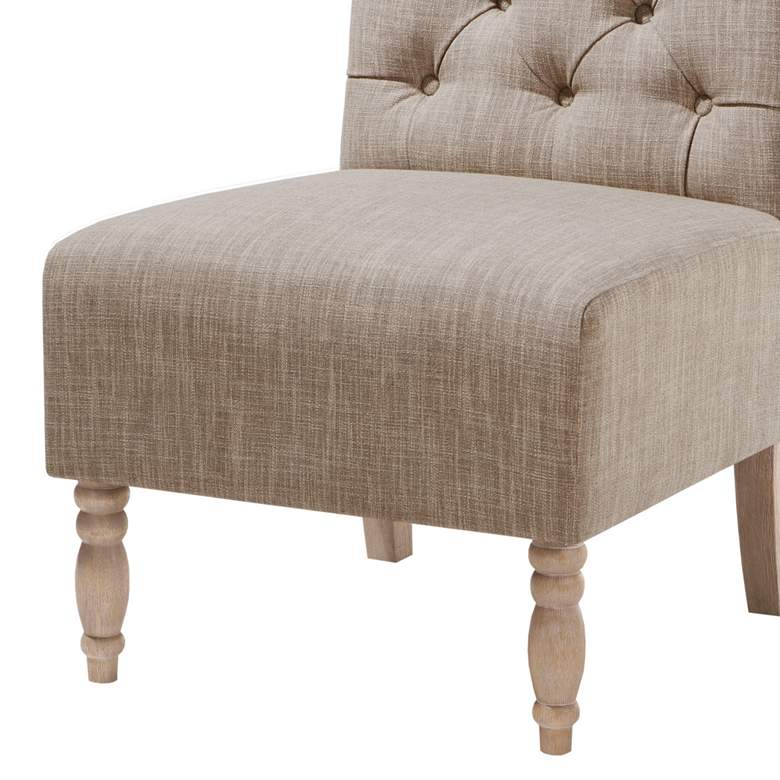 Lina Beige Button Tufted Armless Accent Chair more views
