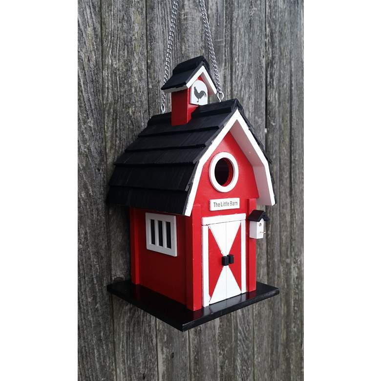 Barn Red and Black Wood Hanging Birdhouse more views
