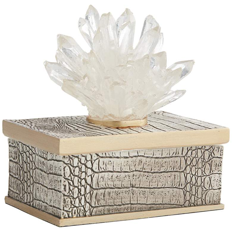 "Crystal Flower 6"" High Matte Brown Decorative Box more views"