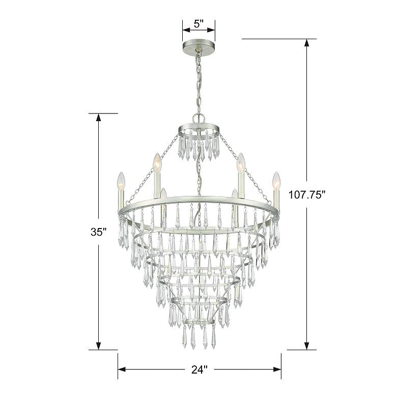 "Crystorama Lucille 24""W Antique Silver 6-Light Chandelier more views"
