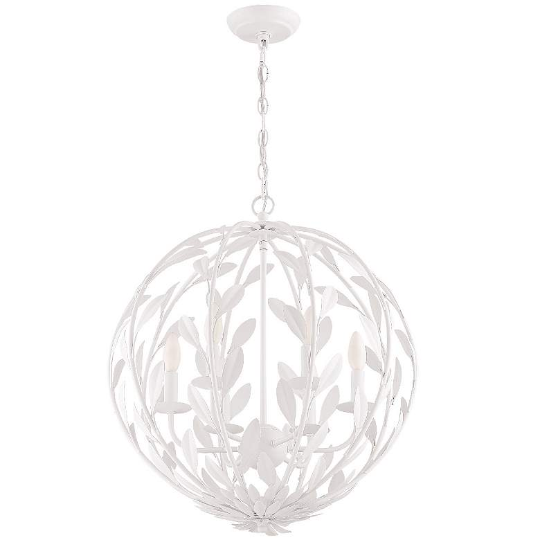 "Crystorama Broche 21"" Wide Matte White 6-Light Pendant Light more views"