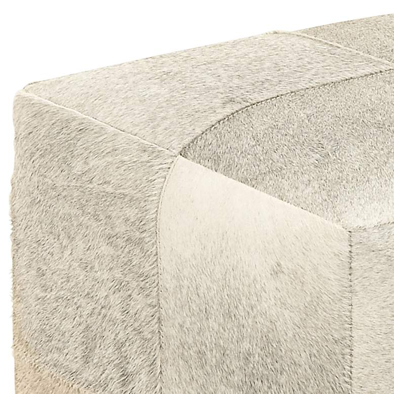 Astoria Weathered Ivory Leather Hide Pouf Ottoman more views