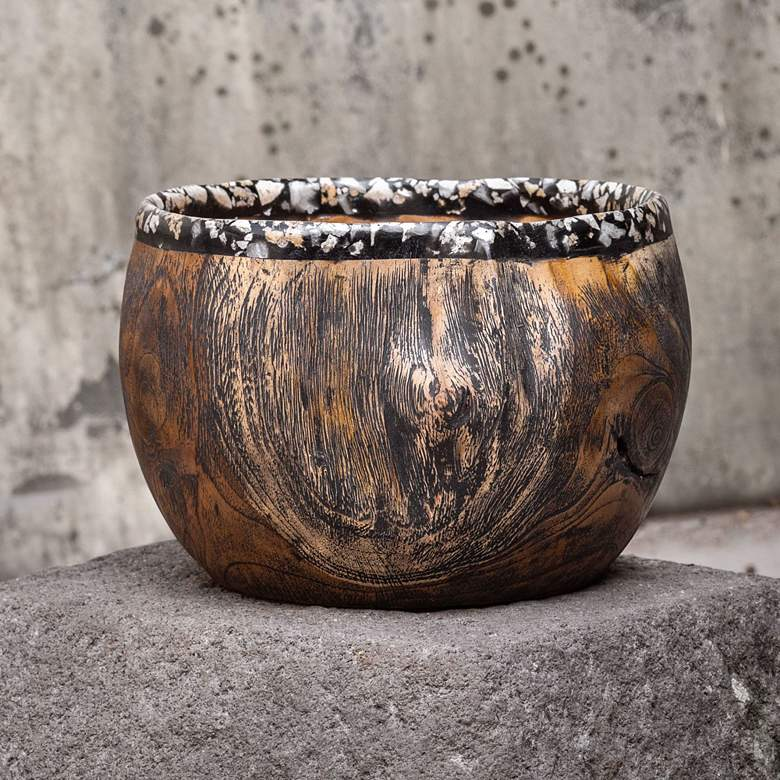 "Chikasha 10 1/4"" Wide Natural Teak Wood Decorative Bowl more views"