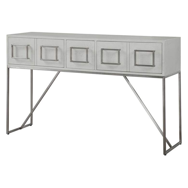 "Uttermost Abaya 54"" Wide White and Light Gray Console Table more views"