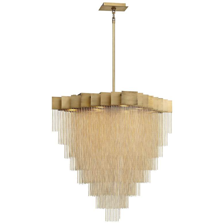 "Bloomfield 31"" Wide Antique Brush Gold LED Pendant Light more views"