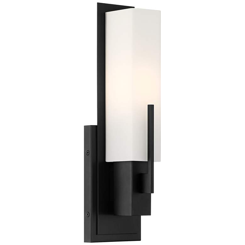 "Possini Euro Midtown 15"" High White Glass Black Wall Sconce more views"