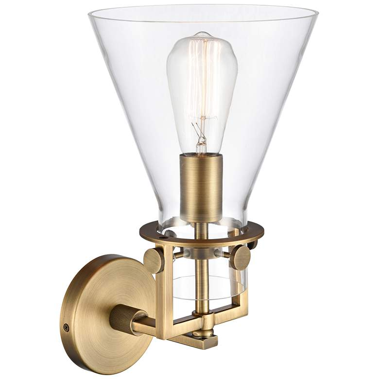 "Newton 14""H Brushed Brass Truncated Cone Glass Wall Sconce more views"