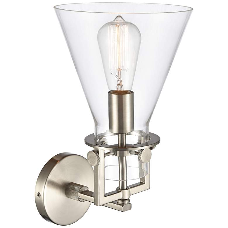 "Newton 14""H Satin Nickel Truncated Cone Glass Wall Sconce more views"