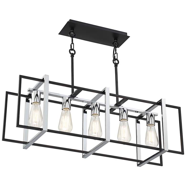 "Stafford 31 1/2""W Chrome Black 5-Light Island Pendant Light more views"