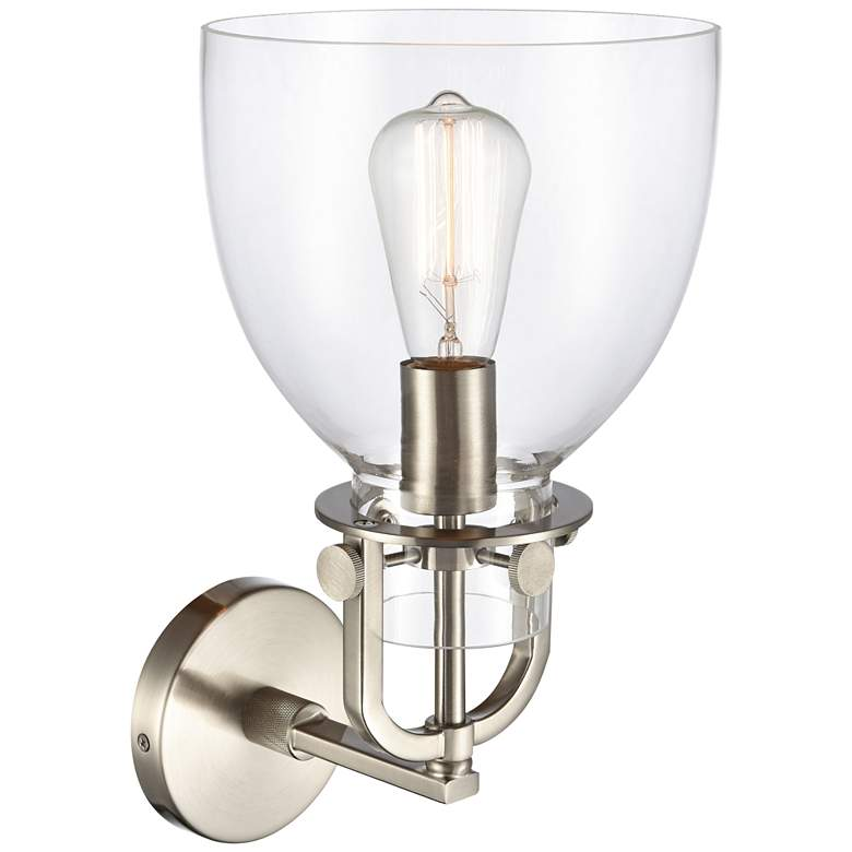 "Newton 14 1/2""H Brushed Satin Nickel Dome Glass Wall Sconce more views"