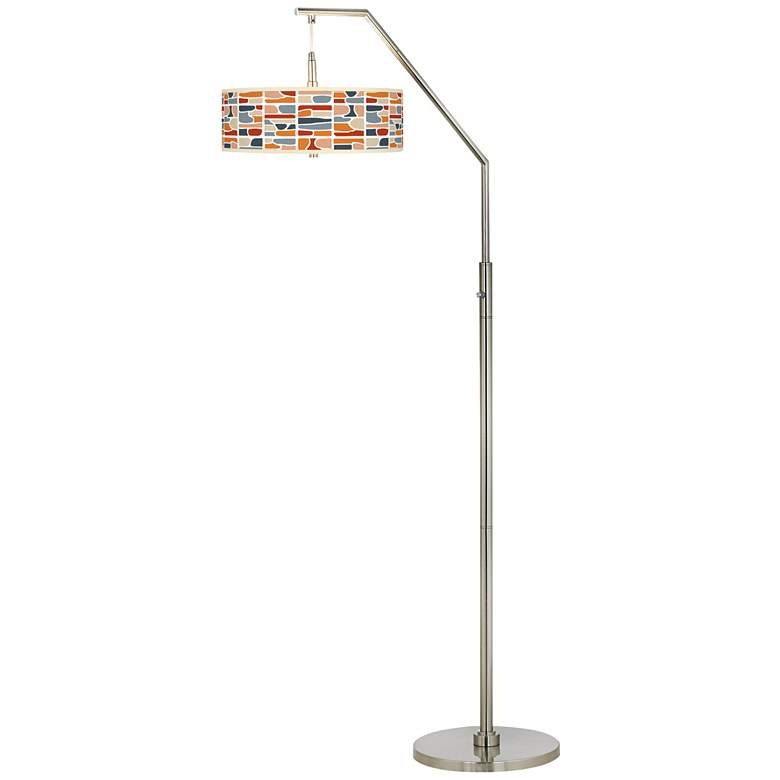 Retro Cobblestones Giclee Shade Arc Floor Lamp more views