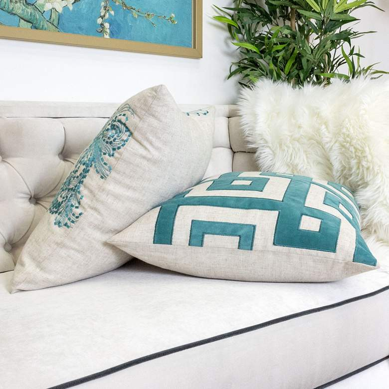 "Natural and Spa Geometric 20"" Square Decorative Pillow more views"