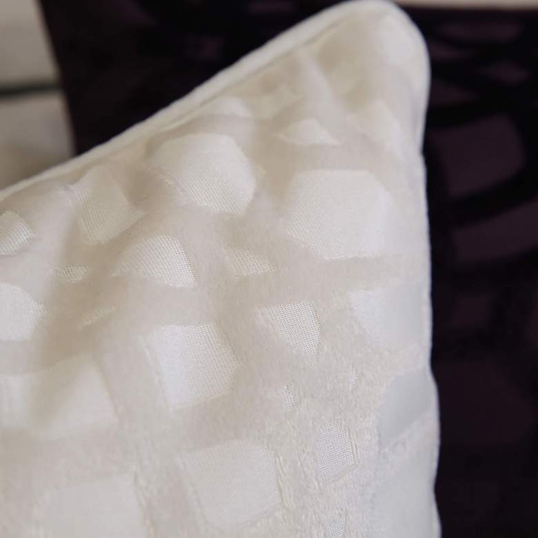 "Ivory Geometric Velvet 20"" Square Decorative Pillow more views"