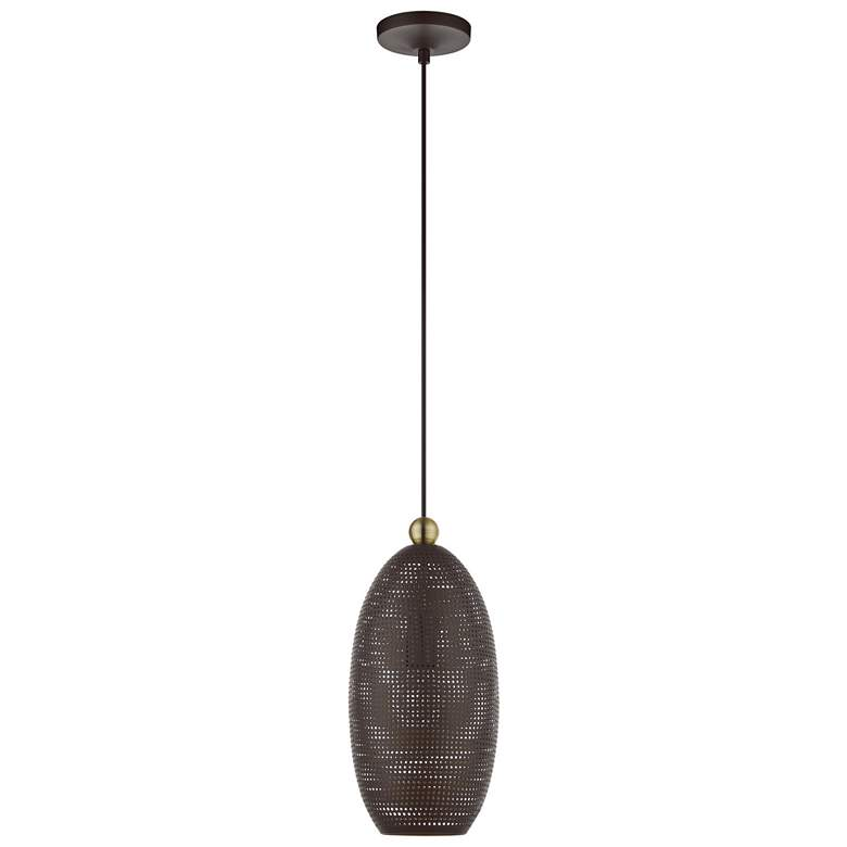 "Dublin 7 1/4"" Wide Bronze Metal Mini Pendant Light more views"