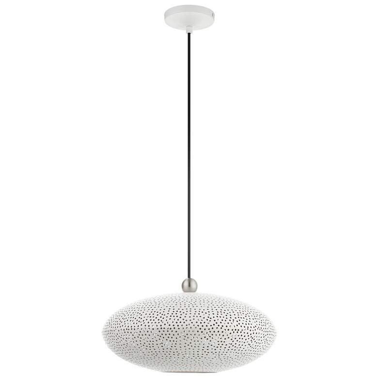 "Dublin 16"" Wide White Metal Oval Pendant Light more views"