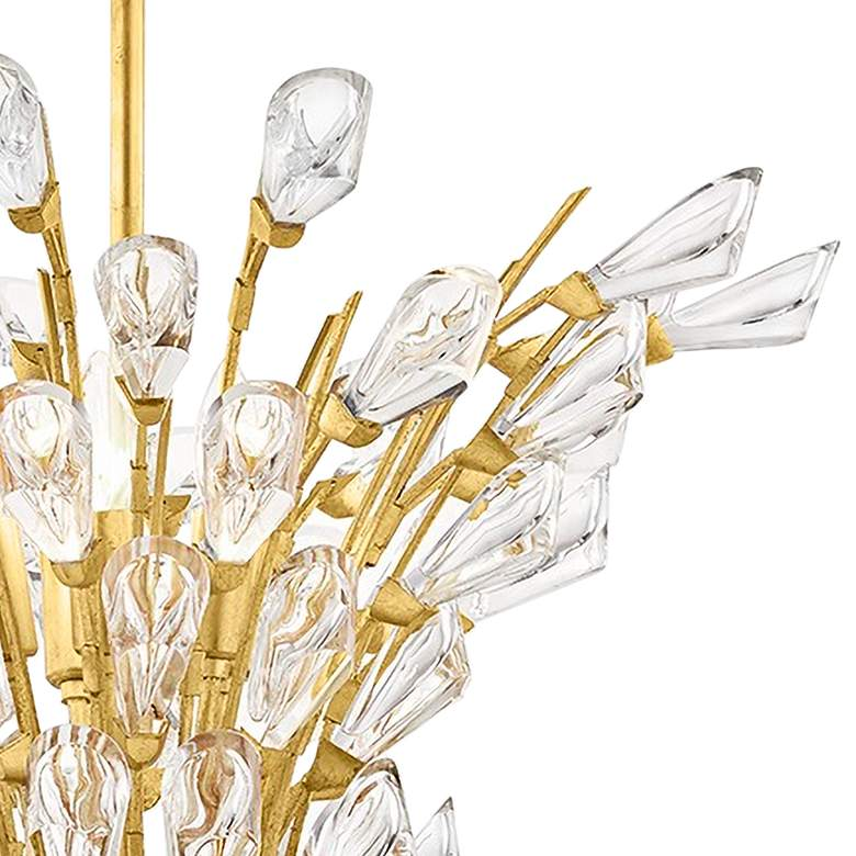 eTulip 5-Light Gold Leaf Chandelier with Clear Shade more views