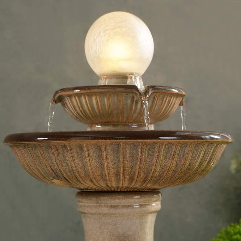 "Knight 26 1/2"" High Ivory Ceramic 2-Tier LED Floor Fountain more views"