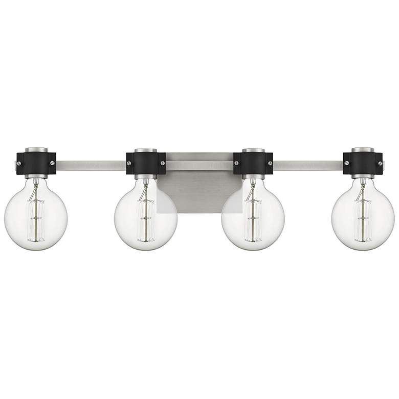 "Quoizel Curie 30 1/2""W Nickel and Black 4-Light Bath Light more views"