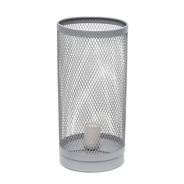 "Simple Designs 12 3/4""H Gray Mesh Cylinder Accent Table Lamp more views"