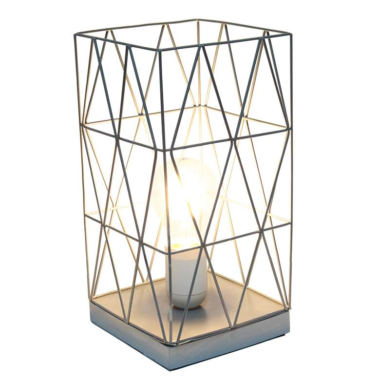 "Simple Designs 10 1/4""H Gray Geometric Metal Accent Lamp more views"