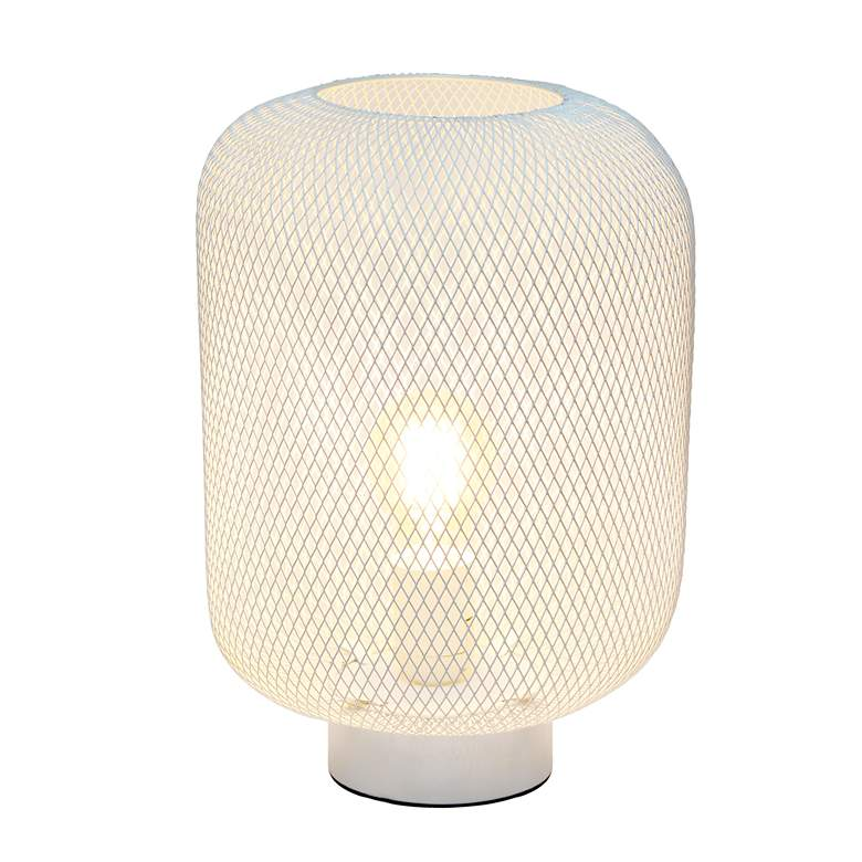 "Simple Designs 12 1/4""H White Metal Mesh Accent Table Lamp more views"