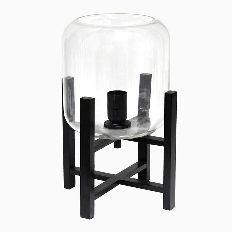 "Simple Designs 13 1/2""H Black and Clear Glass Accent Lamp more views"