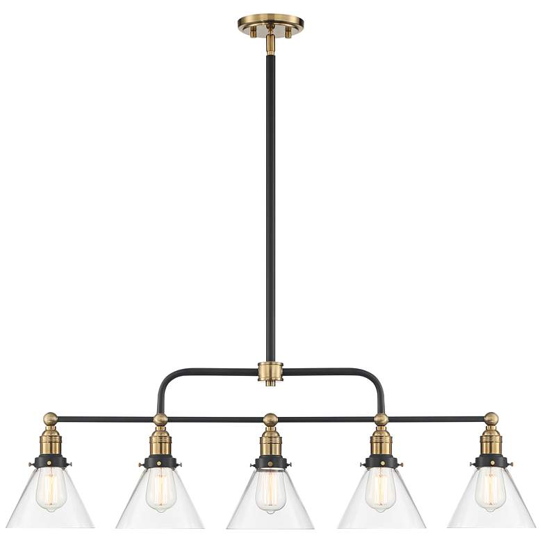 "Delano 42""W Antique Brass and Black 5-Light Island Pendant more views"